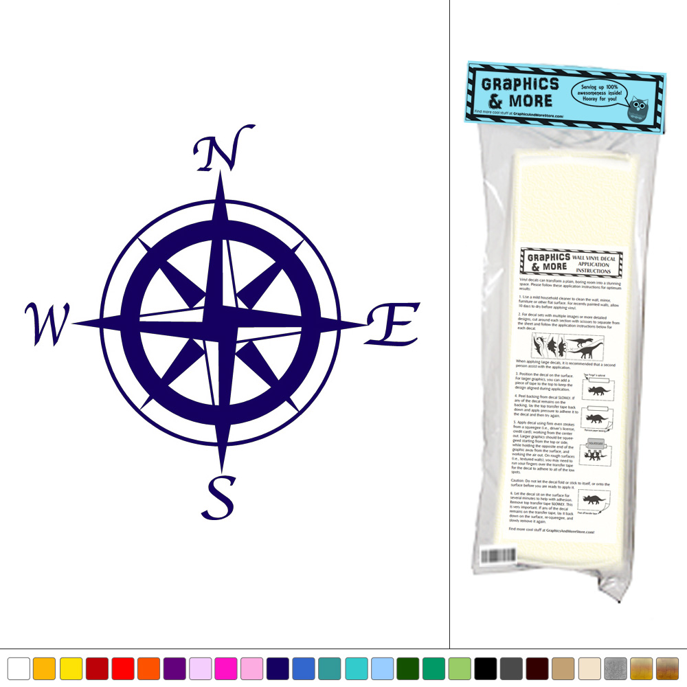 Wall Art Stickers East Rand : Compass north south east west vinyl sticker decal wall